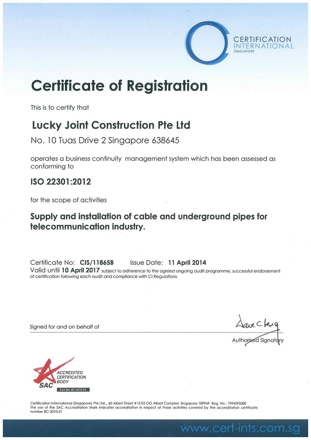 Achievement of business continuity management bcm certification xflitez Choice Image